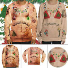 Mens Womens Couple Ugly Christmas Sweater Hoodies Cosplay Xmas Knitted Pullover