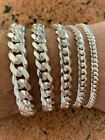 Kyпить Mens Real Solid 925 Sterling Silver Miami Cuban Bracelet 5-12mm 7-9