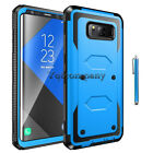 Shockproof Rubber Armor Blue Case Cover For iPhone Samsung LG Phones + Accessory