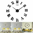 Large Modern Wall Clock 3D Roman Numerals Mirror Stickers Mute Watch DIY Decor