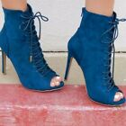 Peep Toe Stiletto Heel Ladies Autumn Sexy Fashion Cross Strap Ankle Booties