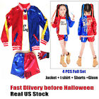 4PCS Girls Halloween Costumes Harley Quinn Cosplay Suicide Squad for Kids