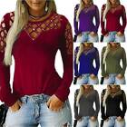 Womens Long Sleeve Cut Out Casual T Shirt Tops Ladies Hollow Out Slim Blouse Tee