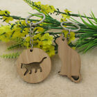 Wooden Cat Keychain for CAT Lovers Wood Key Ring Chain Fob Pendant Pet Owners