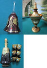 CZECH/BOHEMIAN CRYSTAL GLASS GOLD RED RUBY CANDY DISH BELL DECANTER PICK 1