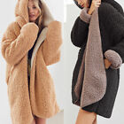 Women Plush Fluffy Fleece Long Jacket Coat Overcoat Winter Warm Fashion Outwear