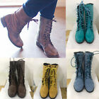 Women Vintage PU Leather Combat Motorcycle Martin Boots Lace Up Low Heel Shoes