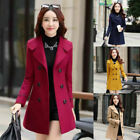 Women Double Breasted Wool Trench Coat Long Slim Jacket Warm Overcoat Outwear