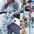 Winter Women Elastic Waist Zipper Ski Suit Snowboard Skisuit Snowsuit Windproof