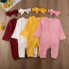 US Newborn Baby Boy Girl Romper Jumpsuit Bodysuit Outfits Knitted Cotton Clothes