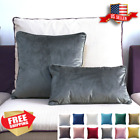 20x20 14x20 Velvet Piping Sham Throw Decor Cushion Pillow Cover