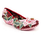 Irregular Choice Twist & Shout (C) Red Slip On Low Heel Flat Floral Cat Shoes