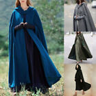 Medieval Women's Long Cloak Cosplay Witch Halloween Cape Hooded Coat Costume N