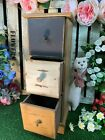 Vintage Drawer Cabinet Rustic Wood Freestand Storage Chest Jewellery Box Unit