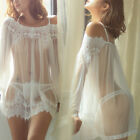 Sexy Lingerie Women Lace Dress Babydoll Nightdress Nightgown Sleepwear Thong Set