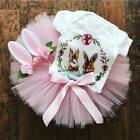 US Kid Baby Girls Easter Bunny Cotton Tops Romper Tutu Skirt Tulle Dress Outfit