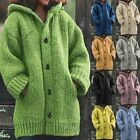 Women's Winter Warm Hooded Knit Sweater Cardigan Coat Long Sleeve Outwear Jacket