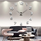 LARGE 3D Wall Clock DIY Home Creative Decoration BIG NUMBERS Multi Color 37/47in