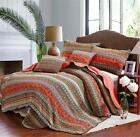 Best Striped Classical Cotton 3-Piece Patchwork Bedspread Quilt Sets Queen image