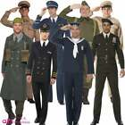 Mens WW2 Wartime 1940s 40s Costume Military Soldier GI Adult Fancy Dress Outfit
