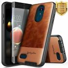 For LG Rebel 4 LTE/Aristo 2/3 Plus/Phoenix 4 Leather Phone Case + Tempered Glass