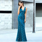 Ever-Pretty US Double V-neck Formal Long Evening Dress Bodycon Wedding Prom Gown