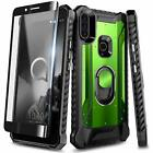 For Alcatel 3V 2019 /5032w Case Full Body Ring Stand Phone Cover +Tempered Glass