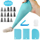 Silicone Icing Piping Cream Pastry Bag+ 14 Stainless Steel Nozzle Set Cake Decor