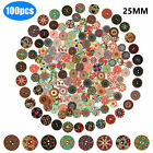 200/100Pcs Wooden 2 Holes Round Wood Sewing Buttons DIY Craft Scrapbooking 25mm