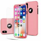 For iPhone 8 7 6 Plus X Xs Max XR Ultra Thin Slim Hard Case Cover Tempered Glass