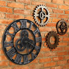 Large Outdoor Garden Wall Clock Roman Numeral Slient Giant 3D Round Face Vintage