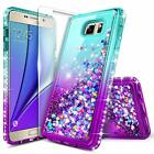 For Samsung Galaxy Note 5 Case Liquid Glitter Bling Phone Cover + Tempered Glass