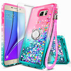 For Samsung Galaxy Note 5 Case Liquid Glitter Bling Cover + Tempered Glass