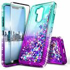 For LG G7 ThinQ / G7 Fit Case Liquid Glitter Bling Cover+Tempered Glass Protecor