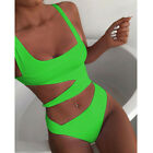 2-piece Women Solid Piece Of Swimsuit Bikini Set Swimwear Beachwear Bathing Suit