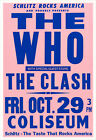 The Who and The Clash 1982 concert poster print