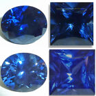 Lab Created Blue Sapphire Oval Faceted Loose Gemstones Fine Cut AAA