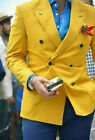 Men Yellow Suit Double Breasted Party Prom Peak Lapel Tuxedos Wedding Suits