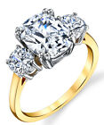 Sterling Silver 925 Meghan Markle 14K Gold Plated Cushion CZ Engagement Ring