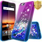 For ZTE Blade Vantage Case Liquid Glitter Bling Phone Cover + Tempered Glass