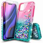 For iPhone 11 Pro Max 11 Pro Case Liquid Glitter Bling Cover With Tempered Glass