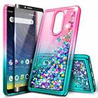 For Coolpad Legacy Case Liquid Glitter Bling TPU Phone Cover + Tempered Glass
