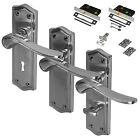 Satin Chrome Lever Door Handles Latch Lock Bathroom Sets Brushed CLEARANCE
