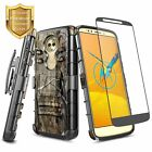For Motorola Moto E5 (XT1920DL) Case, Belt Clip Holster Cover + Tempered Glass
