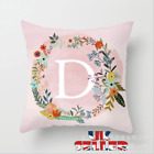 Pink A-Z LETTER POLYESTER CUSHION COVER PILLOW CASE WAIST THROW HOME SOFA DECOR