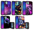 For iPhone 11,8,7,XS,XR Hidden Wallet Case Galaxy Universe Planets Wolf in Space