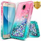 For Samsung Galaxy J7 Crown/Refine/Star Case Liquid Glitter Cover+Tempered Glass