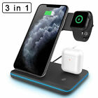 3 in 1 Qi Wireless Charging Dock Charger Stand For Apple Watch Air Pods iPhone