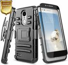 For LG Rebel 4 LTE/Phoenix 4 Case Armor Belt Clip Phone Cover + Tempered Glass