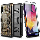 For Samsung Galaxy A50 A30S A50S Case Armor Belt Clip Cover + Tempered Glass